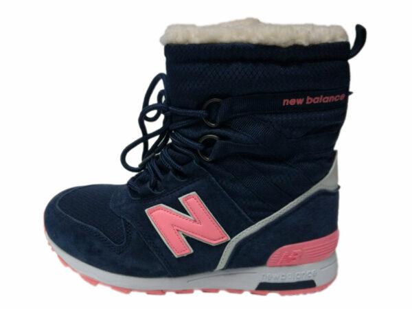 Зимние New Balance 574 Suede высокие темно-синие с розовым