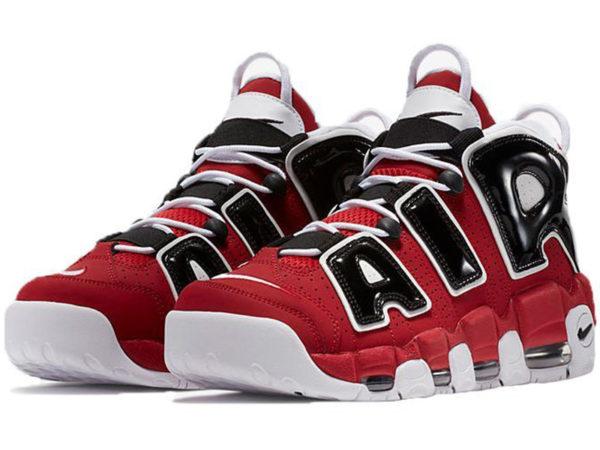 Nike Air More Uptempo 96 Bulls красные с черным (40-46)