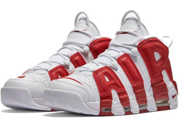 Nike Air More Uptempo белые с красным (40-46)