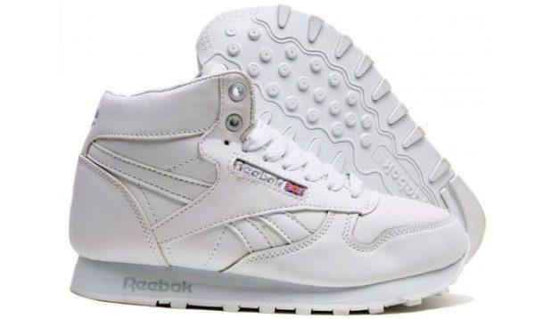 Высокие зимние белые кроссовки