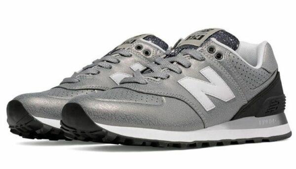 New Balance 574 кожа-сетка серебряные (36-40)