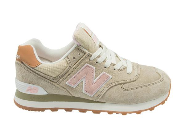 New Balance 574 замшевые бежевые с розовым (35-40)