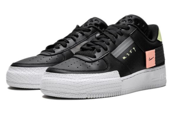 Nike Air Force 1 Type Low N. 354 черные кожаные женские (35-39)