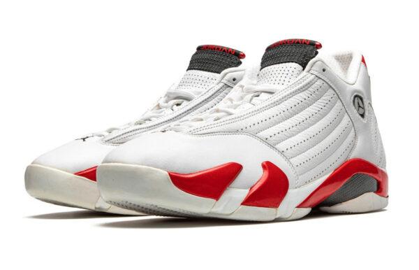 Nike Air Jordan 14 Retro белые с красным кожаные мужские (40-44)