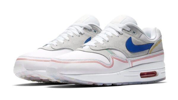 Nike Air Max 87 серо-белые с синим (40-44)