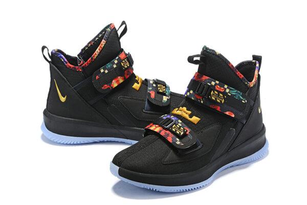 Nike Lebron Soldier 13 черные с разноцветным мужские (40-45)