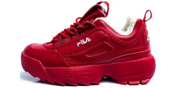 Зимние Fila Disruptor 2 с мехом красные кожаные женские (35-39)