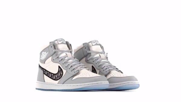 Dior x Nike Air Jordan 1 бело-серые кожаные мужские-женские (35-45)