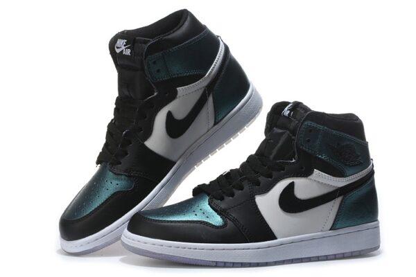 Nike Air Jordan 1 Chameleon бело-зелено-черные хамелеон кожаные мужские-женские (35-45)