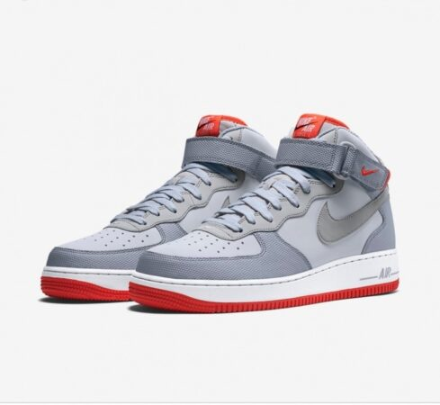 Nike Air Force 1 Mid 07 светло-серые кожаные мужские (40-44)
