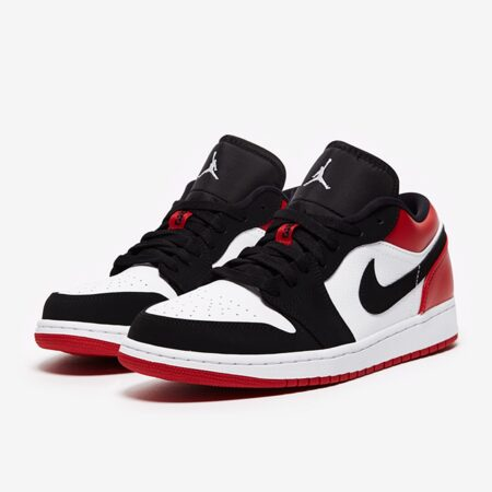 Nike Air Jordan 1 Low черно-белые-красные кожа-нубук мужские (40-44)