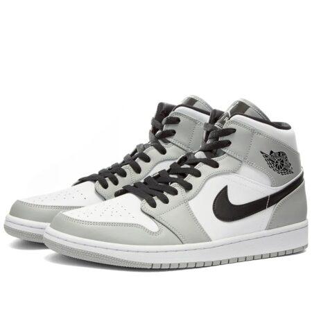 Nike Air Jordan 1 Retro Mid серо-черные кожаные мужские-женские (35-44)