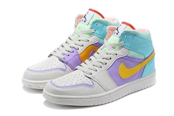 Nike Air Jordan 1 GS серо-фиолетово-бирюзовые кожаные женские (35-39)