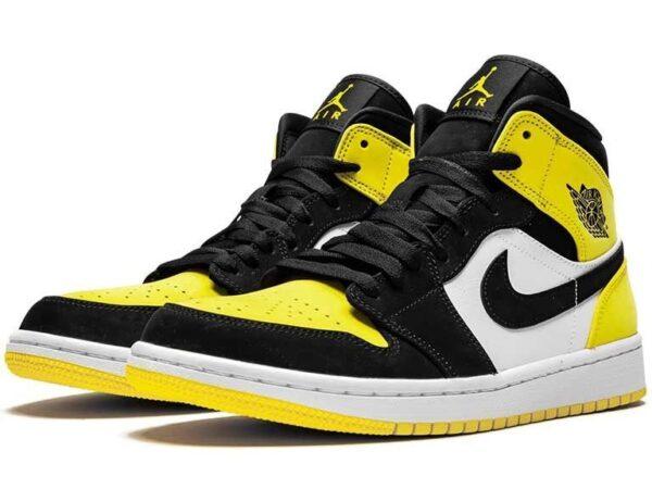 Nike Air Jordan 1 Mid Se Yellow Toe черно-белые с желтым кожа-нубук женские (35-39)