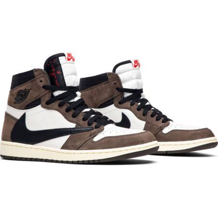 Nike Air Jordan 1 Travis Scott коричнево-белый камуфляж с черным кожа-нубук мужские-женские (35-44)