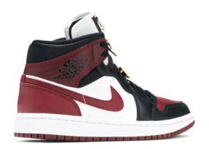 Nike Air Jordan 1 Mid SE Black Dark Beetroot бордово-черно-белые кожаные (35-39)