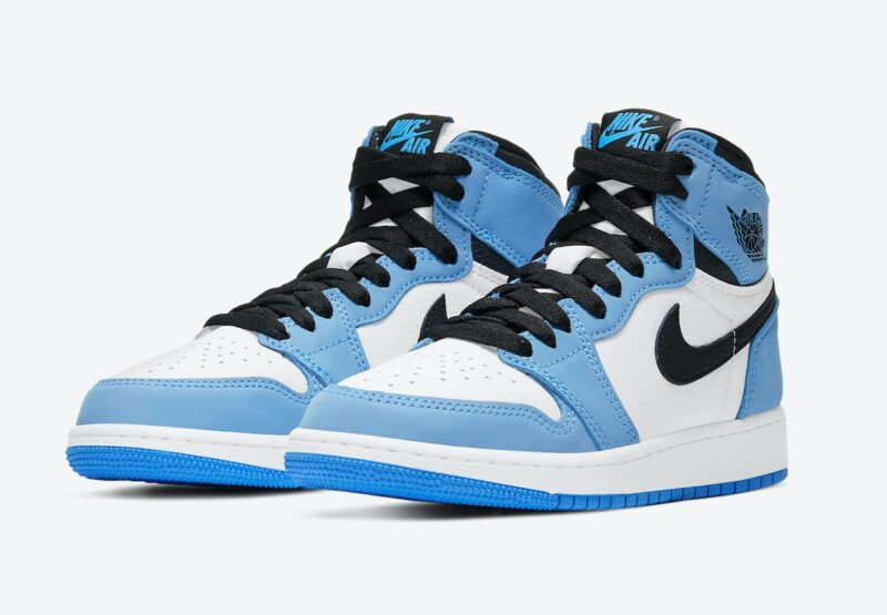 Nike Air Jordan 1 Mid University Blue бело-голубые кожаные (35-39)